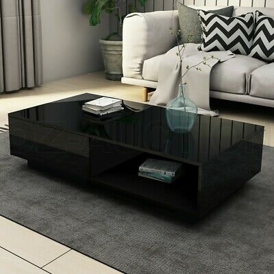 AU179.95 • Buy Modern Coffee Table Storage Drawer Shelf Cabinet High Gloss Furniture Black New