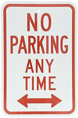 Metal Sign - No Parking Anytime With Arrow, 8  X 12 , Red On White • 9.99$