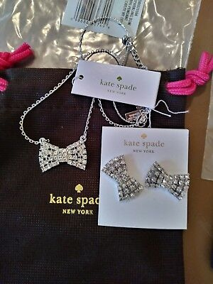 $ CDN97.46 • Buy $98 Kate Spade Bow Diamond STUD Earrings + Necklace Crystal SET Holiday Gift New