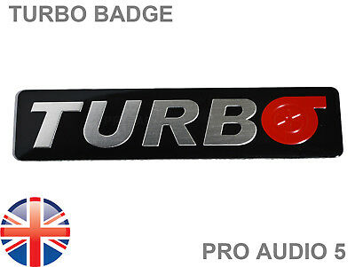 TURBO LOGO CAR BADGE - BRUSHED ALUMINIUM - Emblem Tuning Boost Racing Van Black  • 5.79£