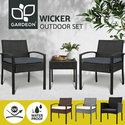 AU159.90 • Buy Gardeon Outdoor Furniture Setting Chairs Patio Wicker Rattan Chair Table Garden