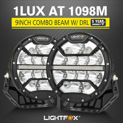 AU199.95 • Buy LightFox 9inch LED Driving Lights 4x4 Round Spotlights Built-in DRL Black