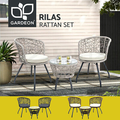 AU236.99 • Buy Gardeon Outdoor Furniture Wicker Bistro Set 3pcs Chair Table Rattan Patio Garden