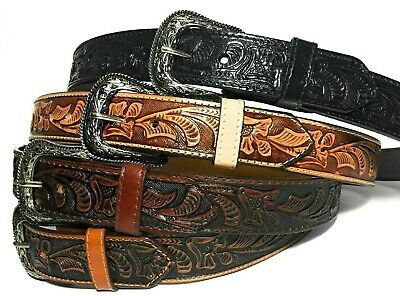 £14.17 • Buy  Western Leather Belt. Cowboy Rodeo Casual Leather Belt Floral Embossed