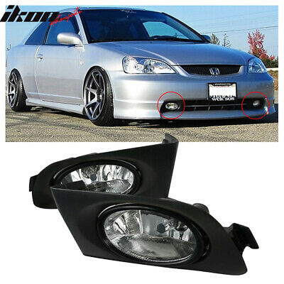 $41.99 • Buy Fits 01-03 Honda Civic 4DR Sedan 2DR Coupe Clear Lens Fog Lights Lamps Pair
