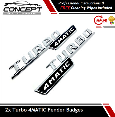 2x Chrome Turbo 4MATIC AMG For Mercedes  Fender Sides Letters Emblem Badge • 14.99£