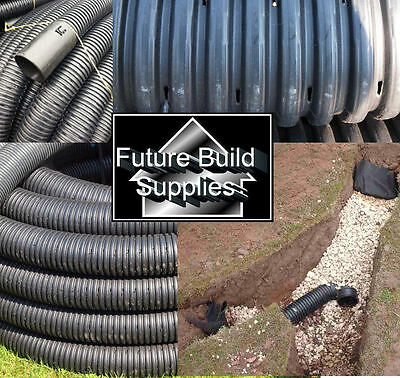 80mm 3  Land Drain X 50m Mtr Metres Tree Planting Perforated Drainage Coil Pipe • 69.50£