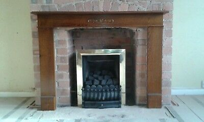 Gas Fire With Coal Effect And Walnut Wood Surround - Excellent Condition • 50£