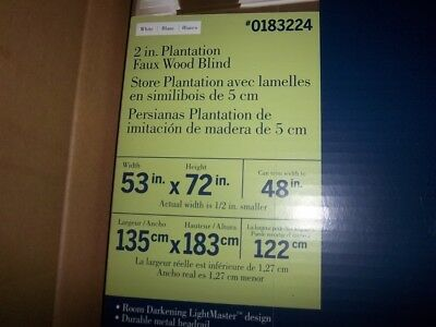 $ CDN82.91 • Buy Levolor Faux Wood White Blinds 53  X 72  2  Plantation 0183224 Free Shipping