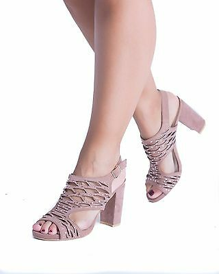 £5 • Buy New Womens Mid Block Heel Sandals Buckle Ankle Strap Summer Strappy Shoes Sizes