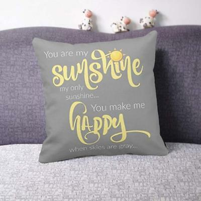 18''X18'' You Are My Sunshine Cotton Throw Pillow Case Cushion Cover Home Decor • 4.89£