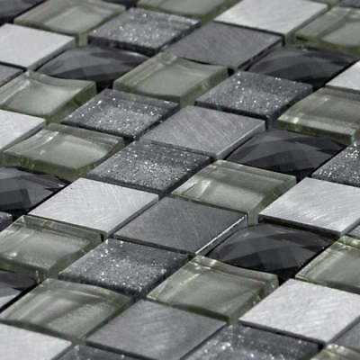 Luxury Grey, Silver & Ivory Glass & Brushed Steel Mosaic Wall Tiles Sheet 8mm • 7.95£