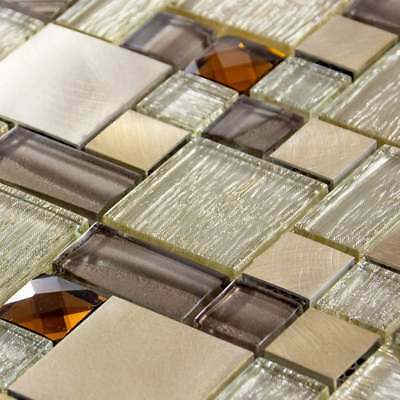 Luxury Brown, Caramel & Beige Glass & Brushed Steel Mosaic Wall Tiles Sheet 8mm • 7.95£