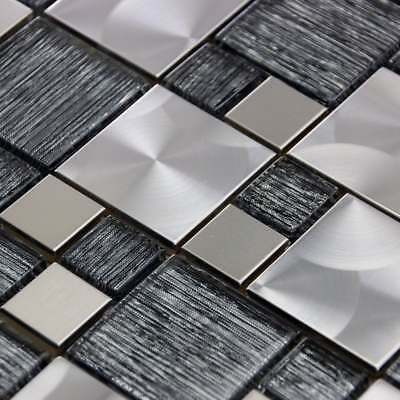 Luxury Textured Grey Glass & Brushed Steel Mix Mosaic Wall Tiles Sheet 8mm • 7.95£
