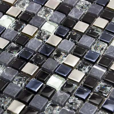 Luxury Black, Grey & Diamond Glass, Stone & Steel Mosaic Wall Tiles Sheet 8mm • 7.95£