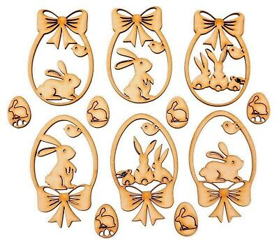 £3.59 • Buy Easter Decor Wooden MDF Shape - Easter Bunny Egg With Bow - 12 Items Set