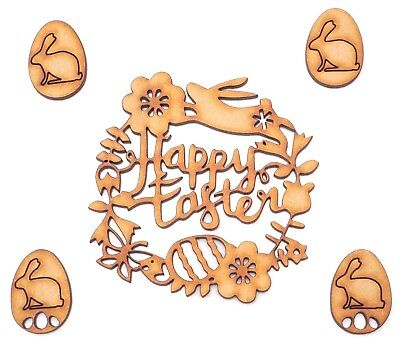 £2.19 • Buy Easter Decor Wooden MDF Shape - Happy Easter Bunny & Egg Writing + 4 Bunny Eggs