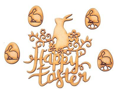 £2.19 • Buy Easter Decor Wooden MDF Shape - Happy Easter Flower Bunny Writing + 4 Bunny Eggs