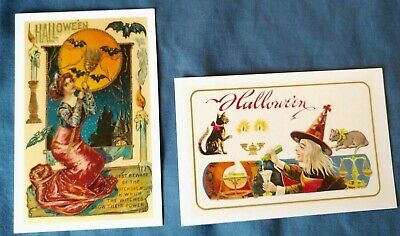 $ CDN12.37 • Buy Set Of 2 NEW Vintage Repro HALLOWEEN POSTCARDS Cards With Vintage Sleeves GIFT