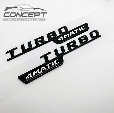 2x Gloss Black Turbo 4MATIC AMG For Mercedes Fender Sides Letters Emblem Badge • 14.99£