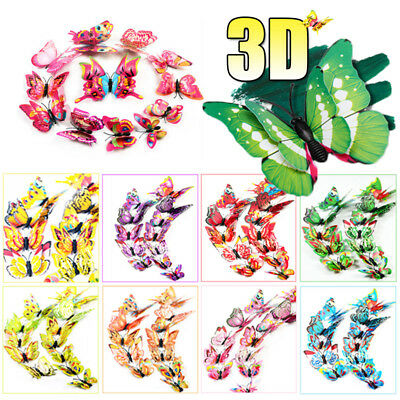 AU3.99 • Buy 12Pcs 3D Butterfly Fridge Magnets + Wall Stickers Set Kids Room Decor Wedding AU
