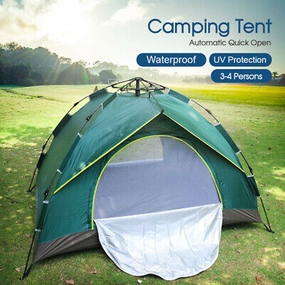 AU42.98 • Buy Double Layer Waterproof Automatic Quick Open Camping Tent Outdoor 3-4 Persons