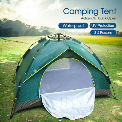 AU40.99 • Buy Double Layer Waterproof Automatic Quick Open Camping Tent Outdoor 3-4 Persons