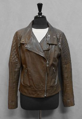 $149.99 • Buy C0 Auth MACKAGE Rustic Brown Lamb Leather Quilted Shoulders Moto Jacket Size L