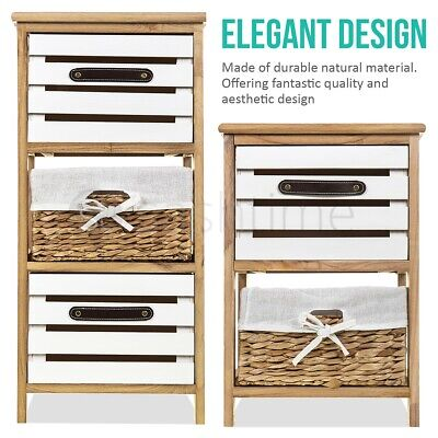 Bedside Table Unit Cabinet Wicker Basket 2/3 Drawer Nightstand Storage Bathroom  • 42.95£