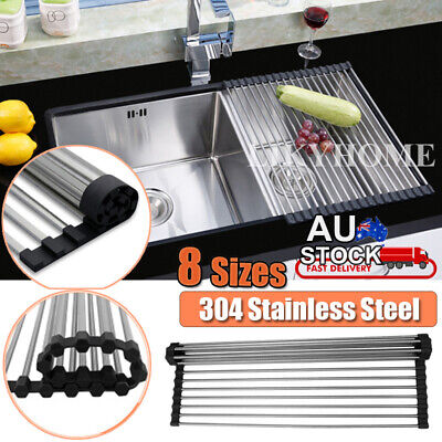 AU21.95 • Buy Stainless Steel Sink Kitchen Dish Drainer Foldable Draining Rack RollUp RackOver