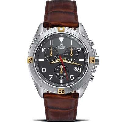 £39.99 • Buy Accurist Chronograph Black Dial Brown Leather Strap Gents Watch 7142