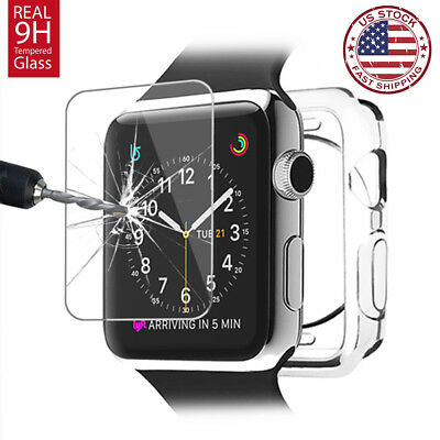 $ CDN1.86 • Buy For Apple Watch Series 3 4 38/42mm Soft Clear Bumper Case Screen Cover Protector
