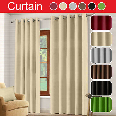 Thermal Blackout Eyelet RING TOP Door Curtain Blinds 66x 84+Free Tie Back Decor • 12.49£