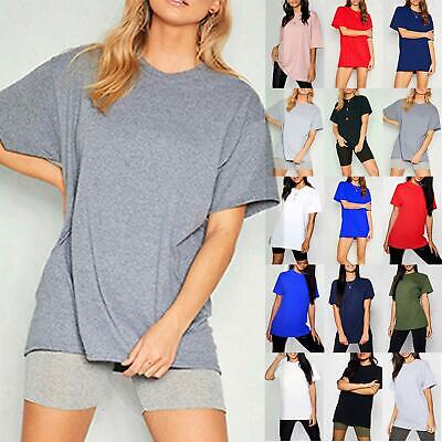 Ladies Womens Basic Stretchy Jersey Casual Plain Oversized Baggy T Shirt Tee Top • 2.99£