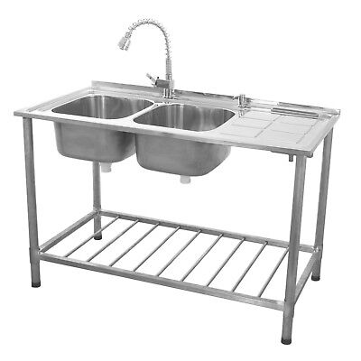 Stainless Steel Sink Catering Kitchen Commercial Double Bowl Right Hand Drainer • 259.99£