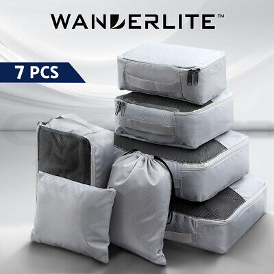 AU20.90 • Buy Wanderlite Luggage Organiser Suitcase Sets Packing 7PCS Travel Cubes Pouch Bag