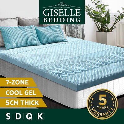 AU82.95 • Buy Giselle Memory Foam Mattress Topper COOL GEL Bed BAMBOO Cover 5CM 7-Zone