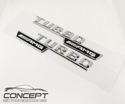 2x  Chrome Turbo AMG For Mercedes Fender Sides Letters Emblem Badge • 14.99£