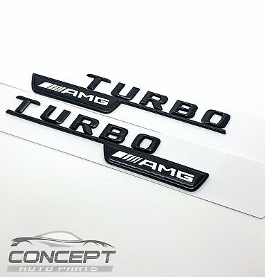 2x Gloss Black Turbo AMG For Mercedes Fender Sides Letters Emblem Badge • 14.99£