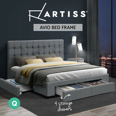 AU439 • Buy Artiss Bed Frame Queen Size Base Mattress With Storage Drawer Fabric