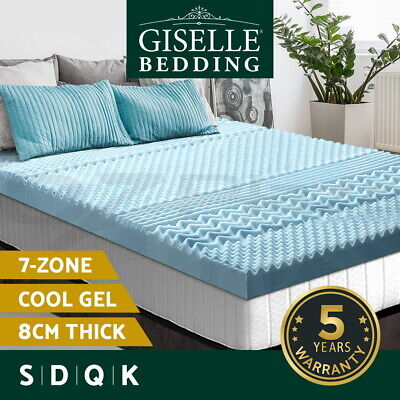 AU159.95 • Buy Giselle Memory Foam Mattress Topper COOL GEL Bed BAMBOO Protector 8CM 7-Zone