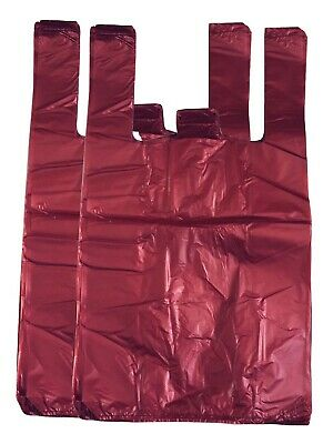 RED Strong Plastic Vest Carrier Bags T Shirt Large And Jumbo 20mu 12 X18 X22  • 5.50£