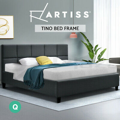AU179 • Buy Artiss Bed Frame Queen Size Base Mattress Platform Fabric Wooden Charcoal
