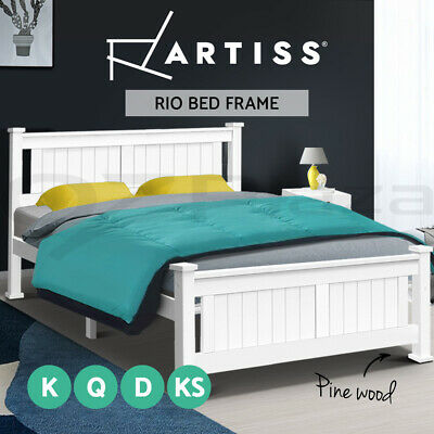 AU109.95 • Buy Artiss Bed Frame Queen Double King Single Size Wooden Timber Mattress Base