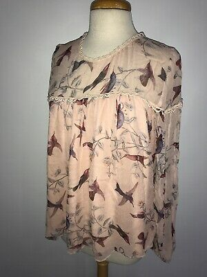 $ CDN47.18 • Buy Anthropologie Bird Print Chiffon Blouse Size Small
