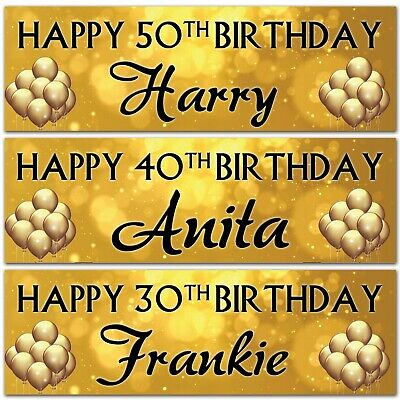 2 Personalised Birthday Banner Gold Black Party Balloon Wedding Celebrating Gift • 3.99£