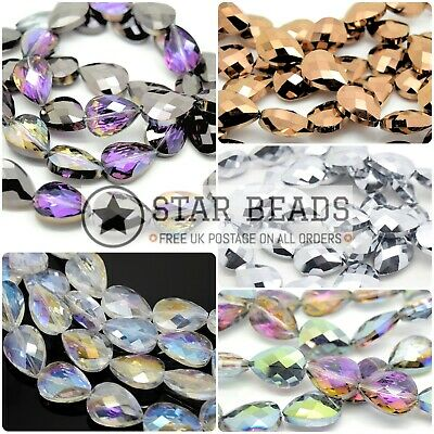 35 X Teardrop Faceted Glass Beads 14x18x7mm - Pick Colour • 5.75£