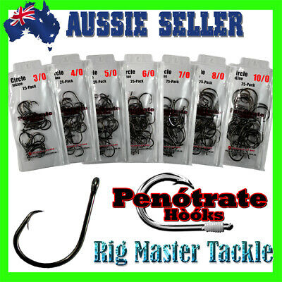 AU14.95 • Buy Fishing Penotrate In-Line Circle Hooks Choose Your Size 3/0 - 10/0 25-pack