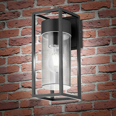 LED Rectangular Outdoor Wall Light Clear Metal Lantern Garden Wall Lamp ZLC079CW • 23.99£