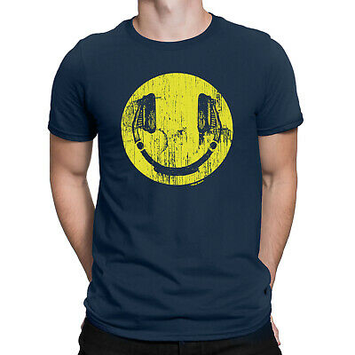 HEADPHONES FACE Mens ORGANIC T-Shirt Music DJ Clubbing Fun Festival Tee Eco Gift • 8.49£